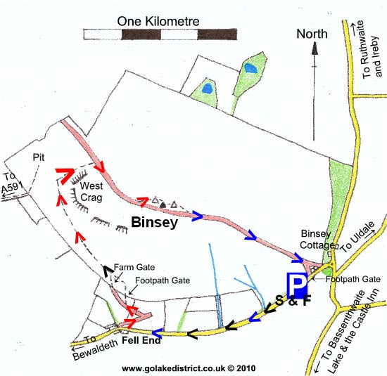 Map of Binsey, Lake District