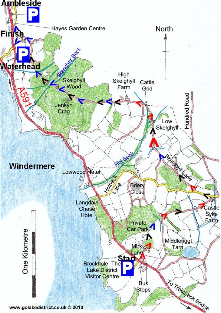 Map of Brockhole to Ambleside, Lake District