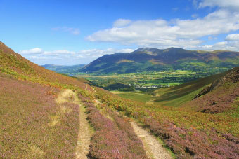Looking back from Barrow Door towards Skiddaw