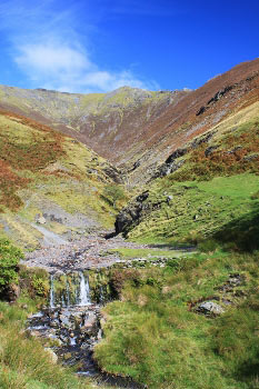 Looking up Gate Gill to the summit on Blencathra