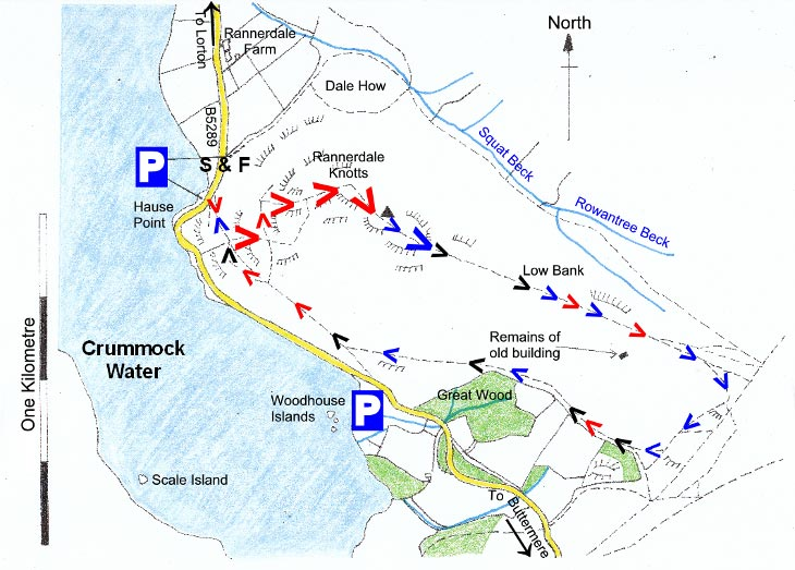 Map of Rannerdale Knotts Walk, Lake District
