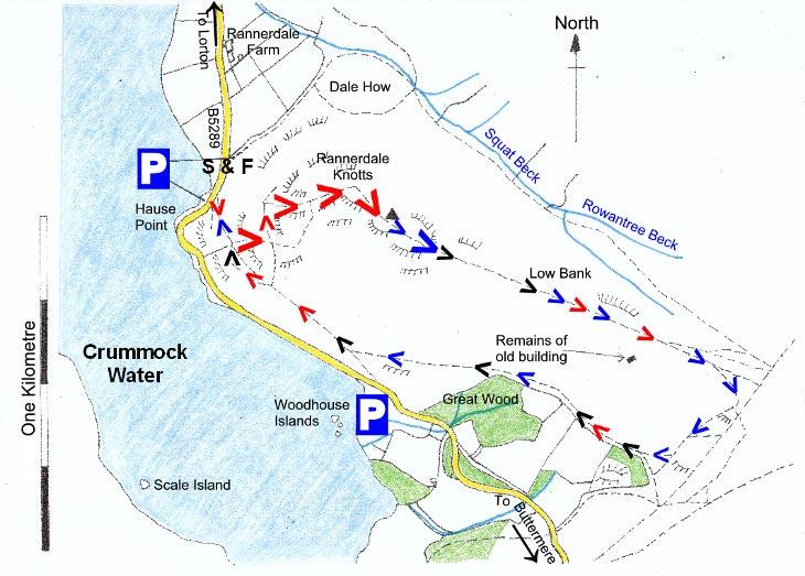 Map of Rannerdale Knotts Walk, Lake District