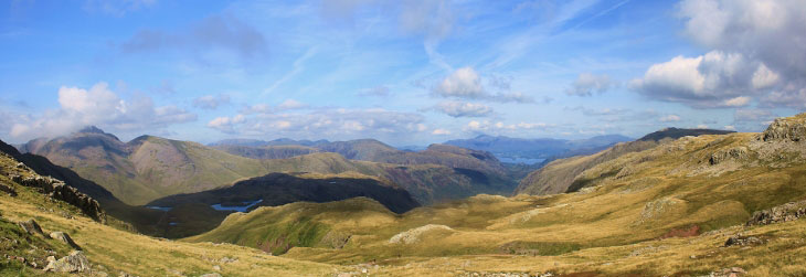 Scafell Pike view - From the left, Great Cable and Sprinkling Tarn