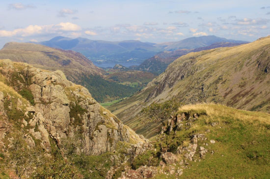 High mountain scenery as you ascend Scafell Pike