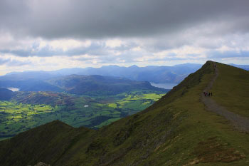 Thirlmere and Derwentwater from the ridge path on Blencathra