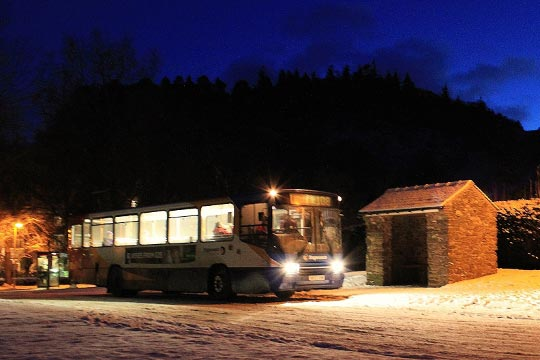 Bus at Glenridding on a cold evening