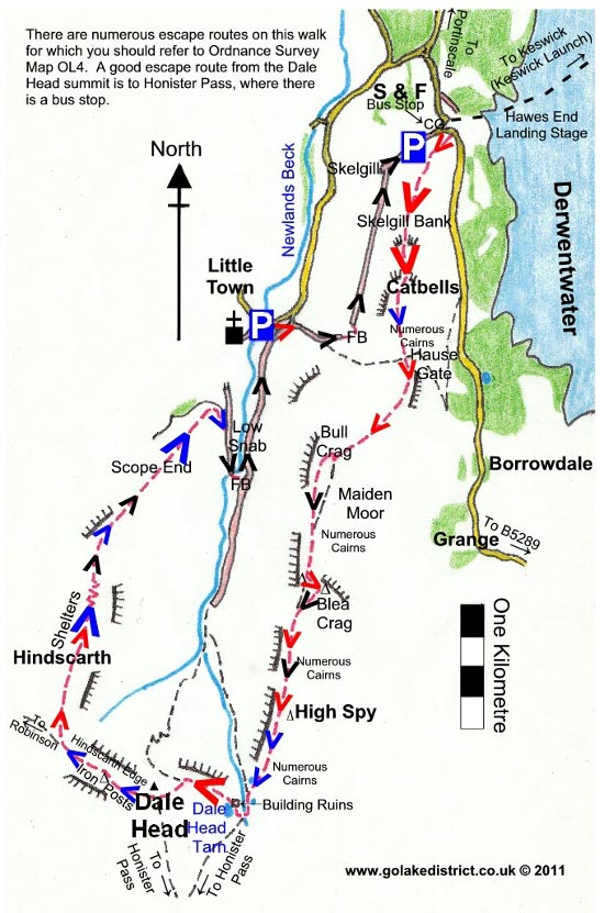 Catbells and Dale Head Horseshoe map