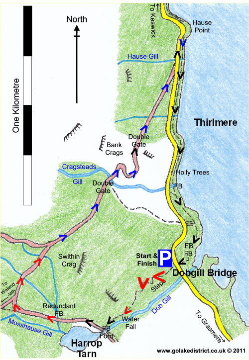 Thirlmere and Harrop Tarn map