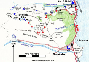 Map of Sheffield Pike, Ullswater, Lake District